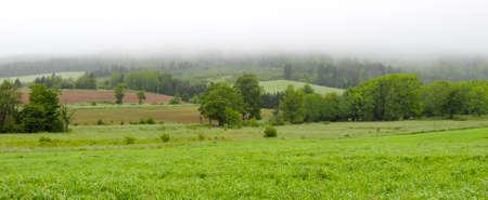 nova: Greenwood, Nova Scotia.  Farmer fields, meadows amongst rolling hills in fog on Nova Scotia Morning.  Wet overcast green feilds in summer.