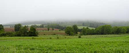 nova scotia: Greenwood, Nova Scotia.  Farmer fields, meadows amongst rolling hills in fog on Nova Scotia Morning.  Wet overcast green feilds in summer.