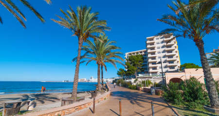 mid morning: Mid morning sunshine in Ibiza.  People walk along the beach near the city.  Warm sunny day along waters edge.  Ibiza, St Antoni de Portmany Balearic Islands, Spain.  Row of palms lines the walkway.