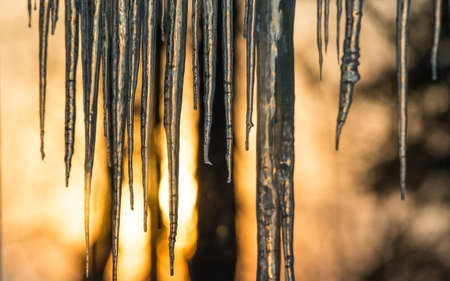dawning: Abstract background of natural icicle formation through glass as morning sun rises.  Long icicles on a wintry January morning. Sunshine dawning through icicles that hang low from a roofs edge.