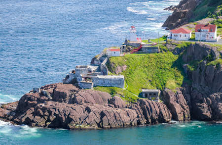 nfld: Summer day over the coastline and cliffs of National Historic Site of Canada, Fort Amherst in St Johns Newfoundland, Canada.