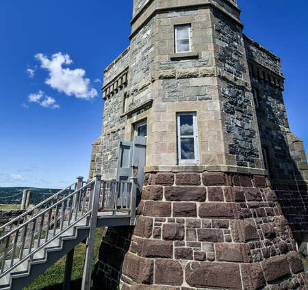 lintels: Detail of entrance to the radio communications tower, Signal Hill, St. Johns, Newfoundland, Canada.
