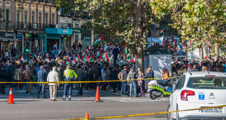 unrest: Madrid, Spain - November 9th, 2013:    Countrys capitol on a warm November day - police monitor as people demonstrate peacefully in support of Western Saharas independence from Morocco.