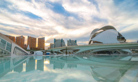 Valencia, Spain, 7 November, 2013.  Tourism in Spain.  skyline in Valencia featuring modern architecture and the Opera House at the city arts centre, as it appeared just under 3 months before the   replacement of the ceramic tile mosaic facade with paint