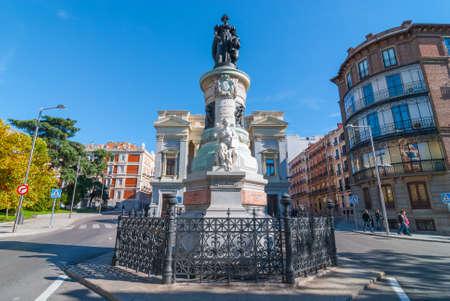 Madrid, Spain - November 9th, 2013:   Tourism in Spain.  Statue of Maria Christina of Borbon, Madrid, Spain in front of The Museum Prado Cason Del Buen Retiro.