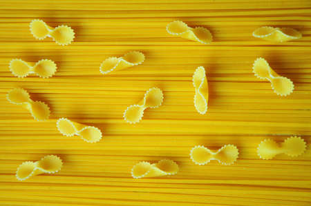 so that: Spaghetti and macaroni placed so that they can be used as a photo for various illustrations Stock Photo