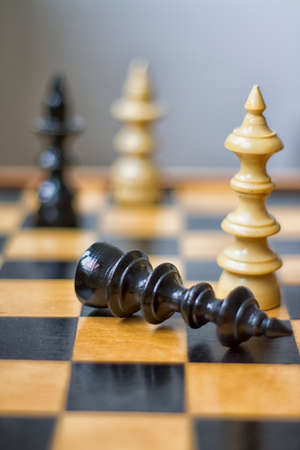 """My version of """"Games of Thrones"""" by using chess game. One king lies on the """"floor"""" more precisely on the chessboard,, while the two queens in the background watch and wait for the end."""