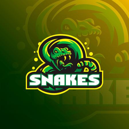 Illustrazione vettoriale del logo della mascotte del serpente Logo