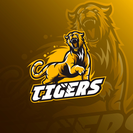 Tiger mascot logo vector illustration. Stock Illustratie