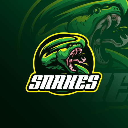 Testa di serpente mascotte logo design vettoriale con concetto di emblema distintivo per sport, esport e squadra.