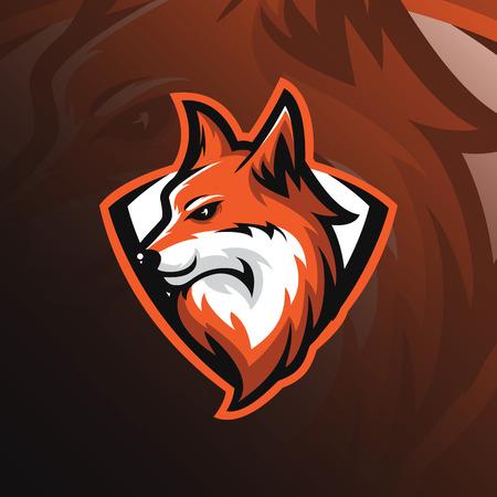 Vector de diseño de mascota de logotipo de Fox con estilo moderno y emblema. Ilustración de cabeza de zorro para equipo deportivo y camiseta estampada. Logos