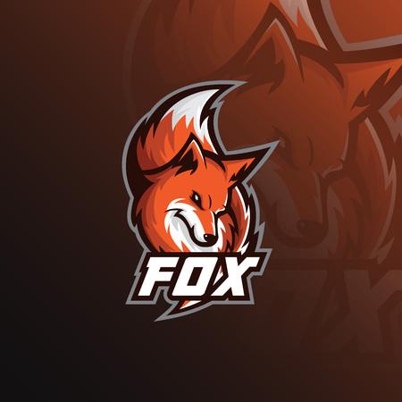 Ilustración de deporte de mascota de logotipo de Fox. iconos modernos para logotipos y emblemas.