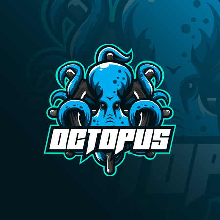 octopus sport mascot logo design illustration, tshirt and emblem.  イラスト・ベクター素材