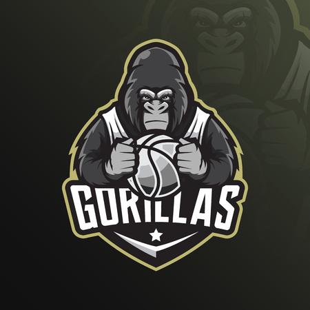 vector de diseño de logotipo de mascota gorila con estilo de concepto de ilustración moderna para impresión de insignias, emblemas y camisetas. Ilustración de gorila enojado sosteniendo una pelota de baloncesto.