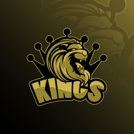 lion king mascot logo design vector with modern illustration concept style for badge, emblem and tshirt printing. lion king  illustration with a crown on the head.