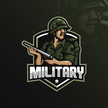 military mascot logo design vector with modern illustration concept style for badge, emblem and tshirt printing. military illustration with a shotgun. 向量圖像