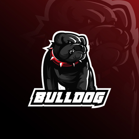 Diseño de logotipo de mascota de vector de bulldog con estilo moderno de concepto de ilustración para impresión de insignias, emblemas y camisetas. Ilustración de bulldog enojado. Logos