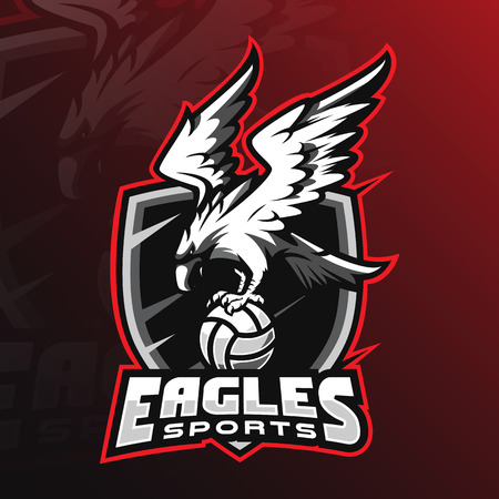 eagle vector mascot logo design with modern illustration concept style for badge, emblem and tshirt printing. angry eagle illustration by holding the ball. Ilustração