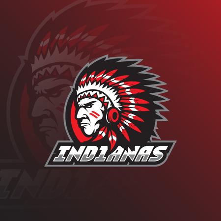 mascotte de conception de logo vectoriel tribu indienne avec un style de concept d'illustration moderne pour l'impression d'insignes, d'emblèmes et de t-shirts. tête illustration de la tribu indienne.