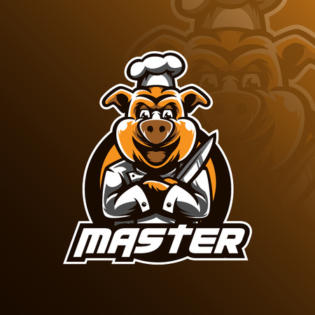 chef vector logo design mascot with modern illustration concept style for badge, emblem and tshirt printing. hog chef illustration by holding a knife.