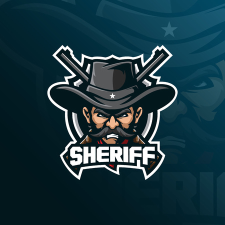 sheriff mascot logo design vector with modern illustration concept style for badge, emblem and tshirt printing. sheriff illustration with a guns.  イラスト・ベクター素材