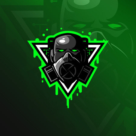 vector de diseño de logotipo de mascota tóxica con estilo moderno de concepto de ilustración para la impresión de insignias, emblemas y camisetas. cabeza ilustración tóxica. Logos