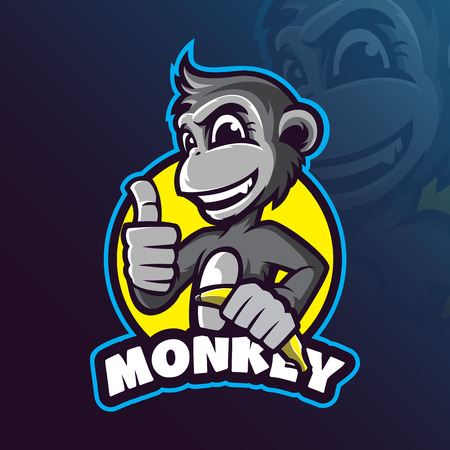 monkey mascot logo design vector with modern illustration concept style for badge, emblem and tshirt printing. smart monkey illustration with a banana in hand. 版權商用圖片 - 117795419