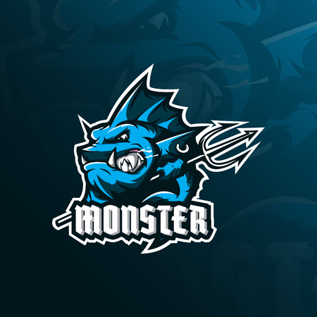 monster fish mascot logo design vector with modern illustration concept style for badge, emblem and tshirt printing. angry fish illustration with a spear in hand. 向量圖像