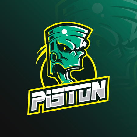 piston mascot logo design vector with modern illustration concept style for badge, emblem and tshirt printing. green piston illustration. Illustration