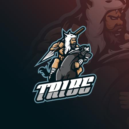tribe mascot logo design vector with modern illustration concept style for badge, emblem and tshirt printing. tribe illustration with a horse and spear. Illustration