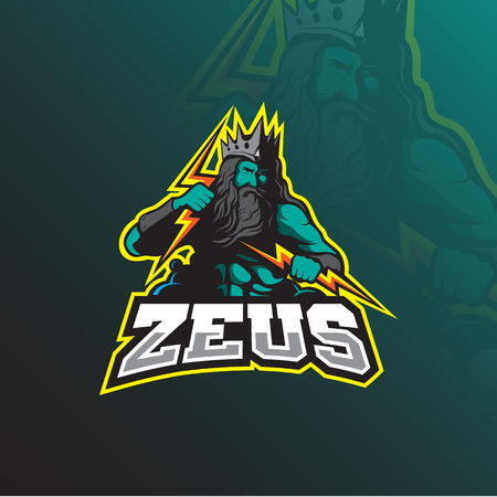zeus mascot logo design vector with modern illustration concept style for badge, emblem and tshirt printing. zeus illustration with lightning in hand. Illustration