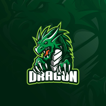 dragon mascot logo design vector with modern illustration concept style for badge, emblem and tshirt printing. angry dragon illustration for sport team.