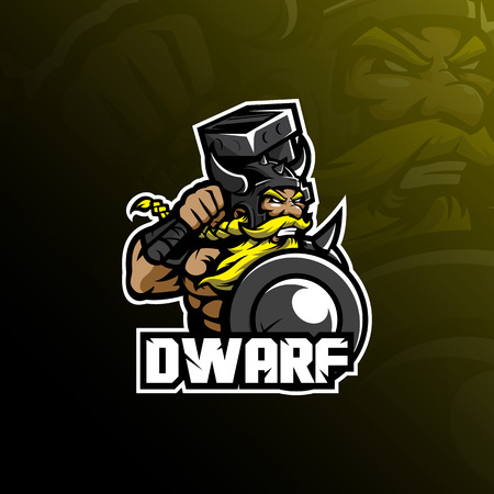 dwarf mascot logo design vector with modern illustration concept style for badge, emblem and tshirt printing. angry dwarf illustration with shield and hammer.