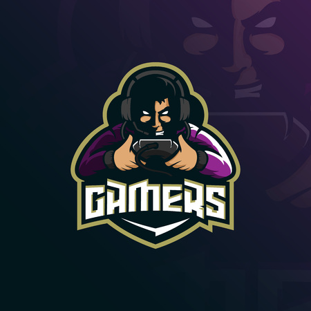 gamer mascot logo design vector with modern illustration concept style for badge, emblem and tshirt printing. gamer illustration for sport team.