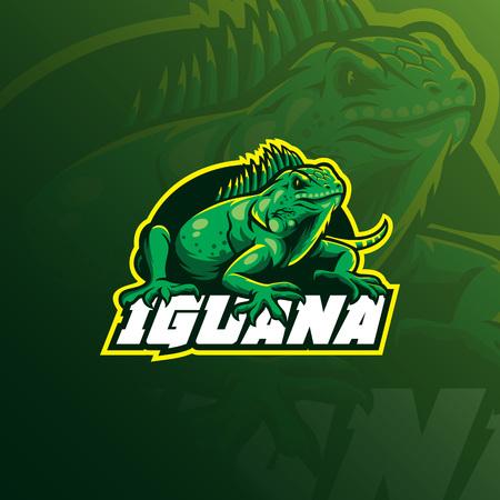 vecteur de conception de logo de mascotte d'iguane avec un style de concept d'illustration moderne pour l'impression de badges, d'emblèmes et de t-shirts. illustration d'iguane en colère pour l'équipe sportive.