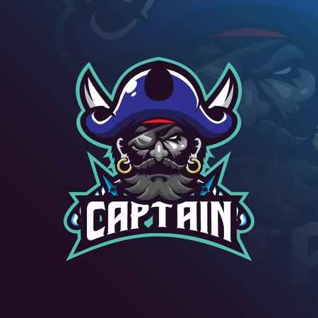 Kapitän Piraten Maskottchen Logo Design Vektor mit modernem Illustrationskonzept Stil für Abzeichen, Emblem und T-Shirt Druck. Piratenillustration mit einem Schwert.