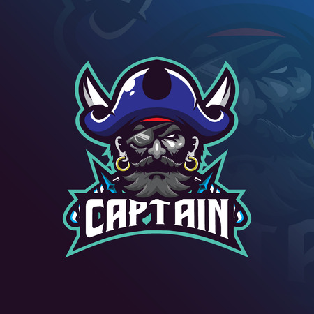Vector de diseño de logotipo de mascota de capitán piratas con estilo moderno de concepto de ilustración para la impresión de insignias, emblemas y camisetas. Ilustración de piratas con una espada.