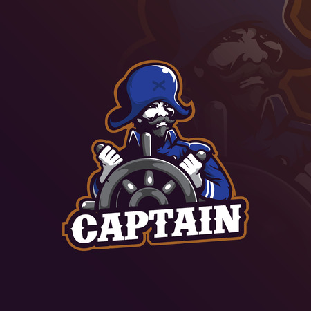 captain mascot logo design vector with modern illustration concept style for badge, emblem and t shirt printing. captain illustration with a steering wheel.