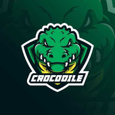 crocodile mascot logo design vector with modern illustration concept style for badge, emblem and t shirt printing. head crocodile illustration with shield. Illusztráció
