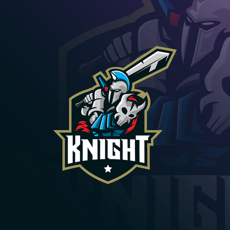 knight mascot logo design vector with modern illustration concept style for badge, emblem and tshirt printing. knight illustration with sword. Illustration