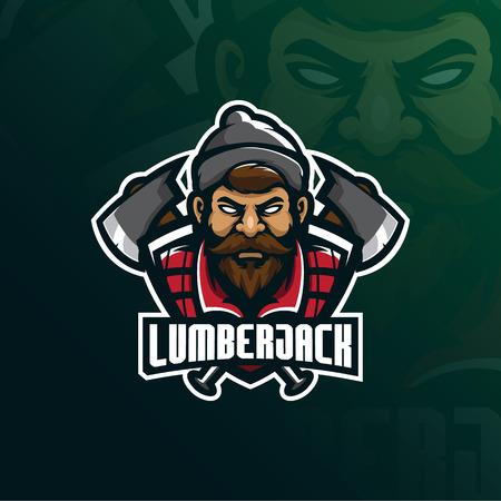 lumberjack mascot logo design vector with modern illustration concept style for badge, emblem and t shirt printing. lumberjack illustration with axes. Illustration