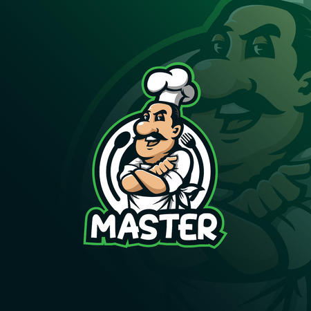 chef mascot logo design vector with modern illustration concept style for badge, emblem and t shirt printing. smile chef illustration. Illustration
