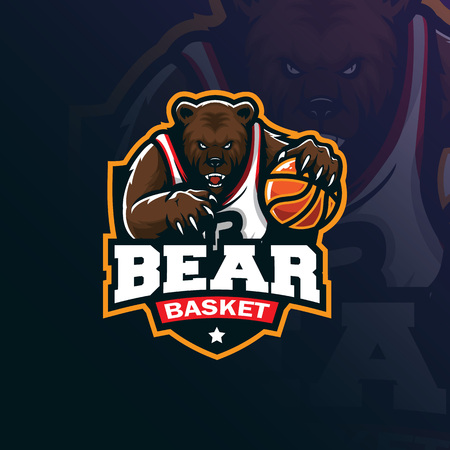 bear basketball mascot logo design vector with modern illustration concept style for badge, emblem and tshirt printing. angry bear illustration with ball in hand.