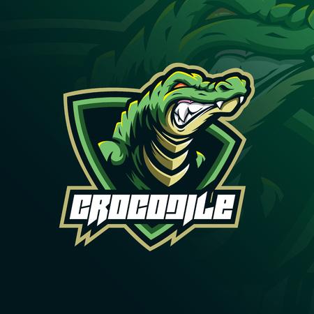 crocodile mascot logo design vector with modern illustration concept style for badge, emblem and tshirt printing. angry aligator illustration for sport team. Illustration