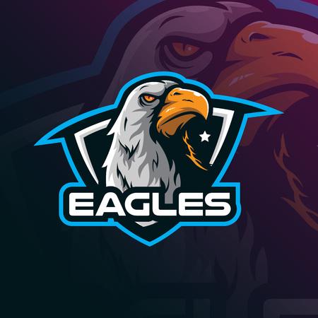 eagle mascot logo design vector with modern illustration concept style for badge, emblem and tshirt printing. eagle illustration for sport team.