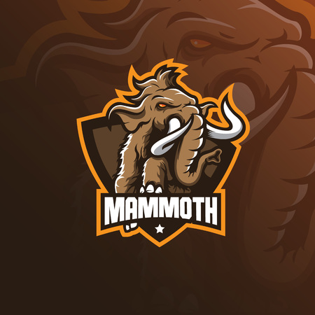 mammoth elephant mascot logo design vector with modern illustration concept style for badge, emblem and tshirt printing. mammoth elephant illustration with jump style.
