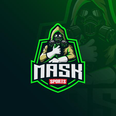 Vector de diseño de logotipo de mascota de máscara tóxica con estilo de concepto de ilustración moderna para la impresión de insignias, emblemas y camisetas. Ilustración de máscara con tóxico en la mano. Logos
