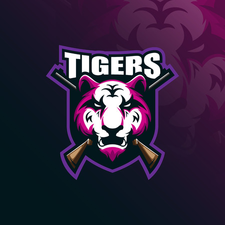 tiger mascot logo design vector with modern illustration concept style for badge, emblem and tshirt printing. angry tiger illustration with badge and shotgun.