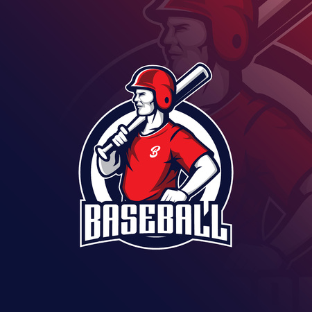 baseball vector mascot logo design with modern illustration concept style for badge, emblem and tshirt printing. baseball illustration with a stick in hand.
