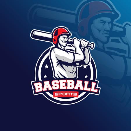 baseball vector mascot logo design with modern illustration concept style for badge, emblem and tshirt printing. baseball illustration for sport team. Illustration